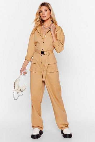 Stone Pull Yourself Together Denim Belted Boilersuit