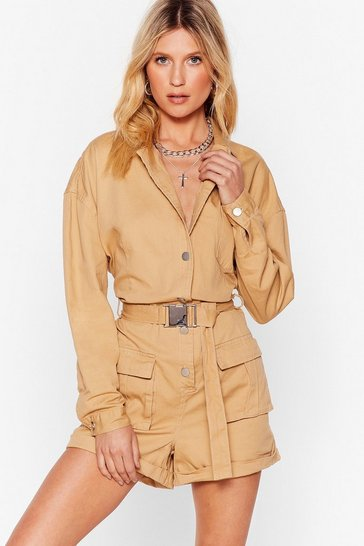 Stone Pull Yourself Together Denim Belted Romper