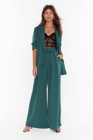 Womens Green Business As Usual Wide-Leg Belted Pants