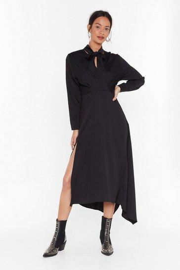 Black Say Good-tie Satin Midi Dress