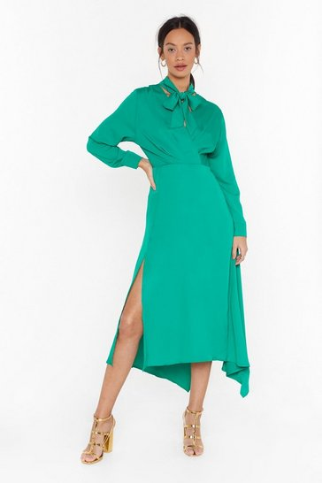 Womens Green Good in Good-Tie Satin Midi Dress