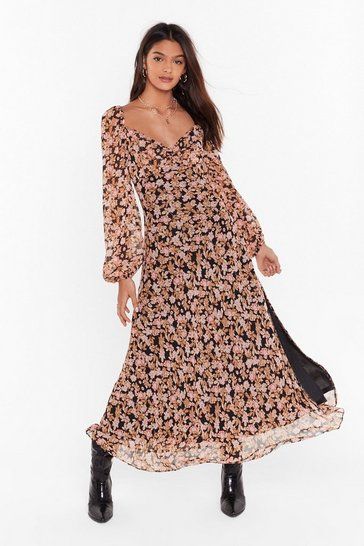 Womens Black Nothin' Bud Love Floral Maxi Dress