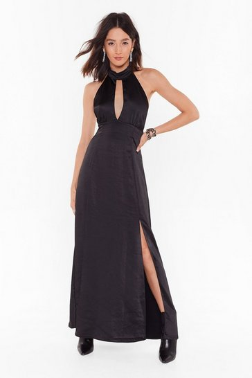 Womens Black Feelings Don't Halter Satin Maxi Dress