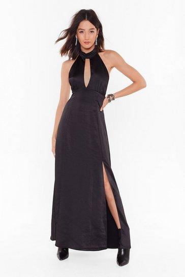 Black Feelings Don't Halter Satin Maxi Dress