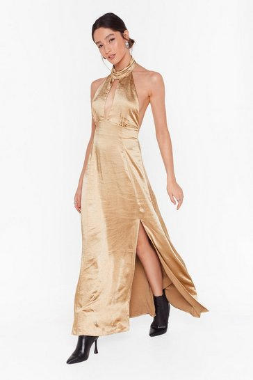 Womens Gold Feelings Don't Halter Satin Maxi Dress