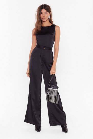 Womens Black Sleek to Us Satin Wide-Leg Pants