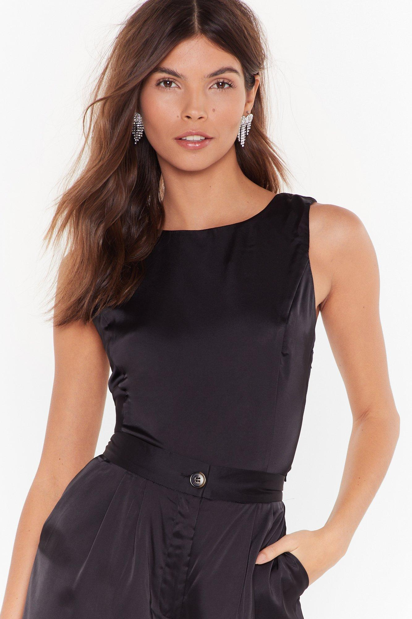Sleek To Us Satin Crop Top by Nasty Gal