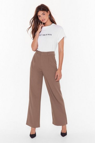 Womens Taupe When It Suits You High-Waisted Wide-Leg Pants
