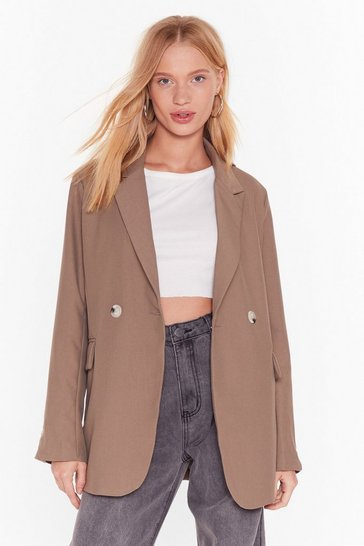 Womens Taupe Fancy Meeting You Here Oversized Blazer