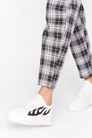 White Faux Faux Leather Sneakers with Flame Graphic