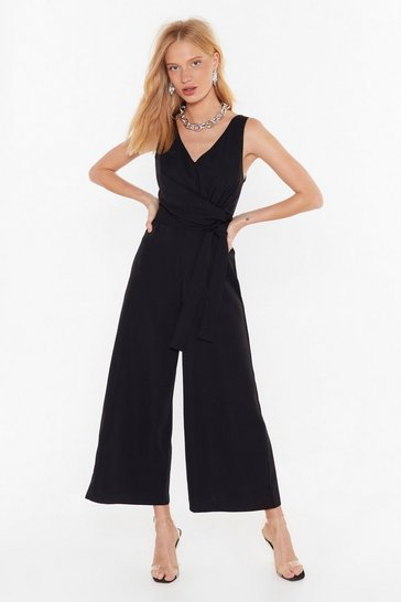 Jump Around V-Neck Wrap Jumpsuit, Black, FEMMES