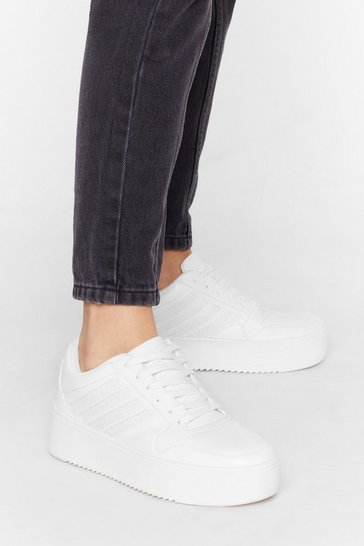 White Run Free Faux Leather Croc Sneakers