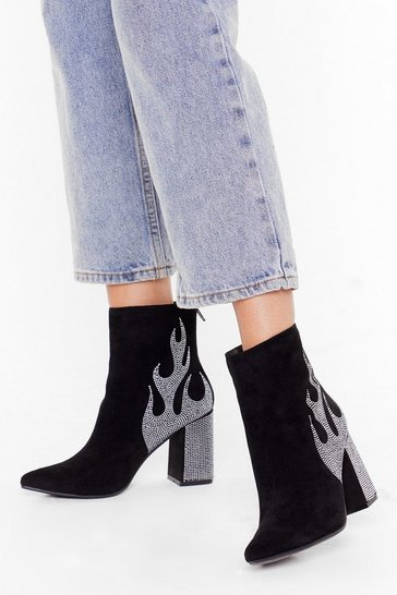Black Bling flame block heel ankle boots