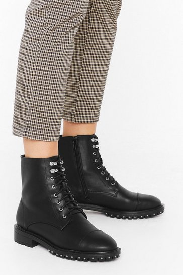 Black Stud rand lace up speed hook pu hiker boots