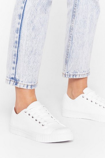 White Lace-Up Canvas Platform Sneakers