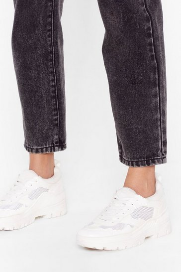 White Be a Good Sport Faux Leather Chunky Sneakers