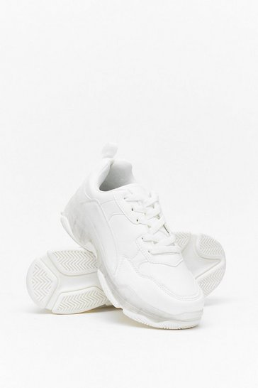 White Faux Leather Bubble Sneakers with Padded Ankle