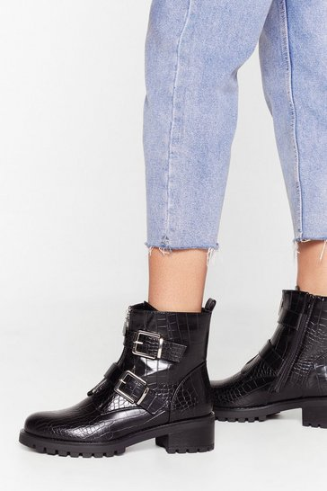 Black The Croc is Ticking Faux Leather Buckle Boots
