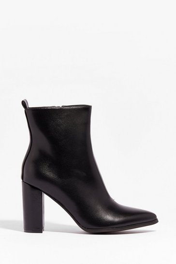 Black Faux Leather Pointed High Ankle Boots