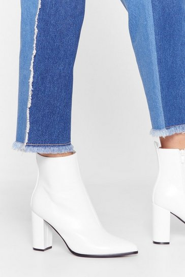 White Faux Leather Pointed High Ankle Boots