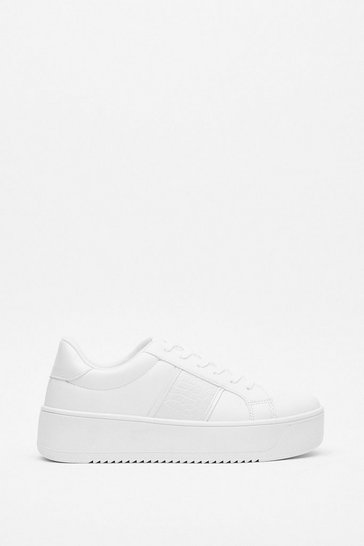 White Chunky Sneakers with Croc Embossed Design