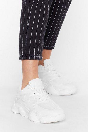 White Don't Burst My Bubble Faux Leather Sneakers