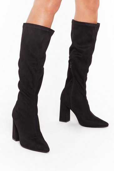 Womens Black Let Me Point Out Faux Suede Knee High Boots