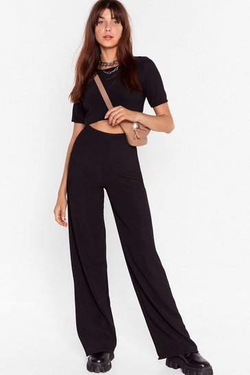 Black Ribbed Crop Top And Wide Leg Pants Set