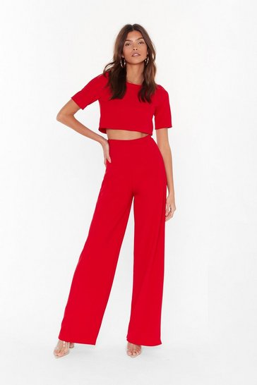 Red Happy Together Ribbed Crop Top and Wide-Leg Pants Set