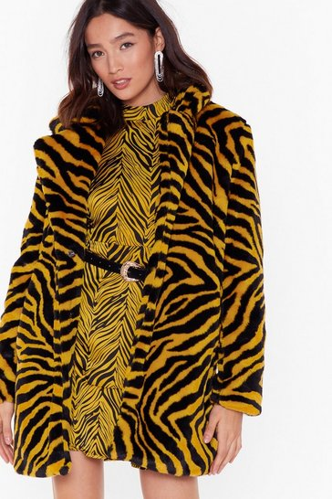 Womens Yellow Wild Love of Ours Tiger Faux Fur Coat