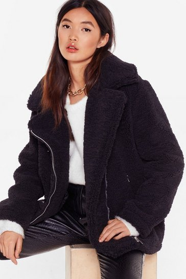 Black Feelin' Fly Faux Shearling Aviator Jacket