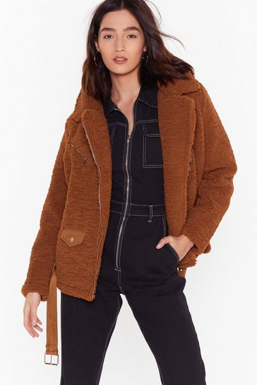 Womens Camel Feelin' Fly Faux Shearling Aviator Jacket