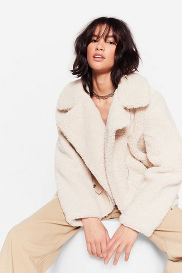 Womens Cream Feelin' Fly Faux Shearling Aviator Jacket