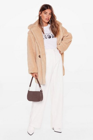 Beige Crazy Fur Your Love Oversized Faux Fur Coat
