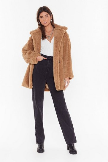 Womens Camel Crazy Fur Your Love Oversized Faux Fur Coat