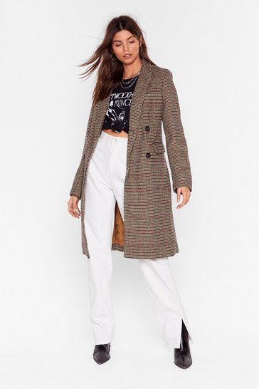 Womens Chocolate We're Out Oversized Check Coat