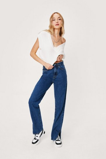 Dark blue Split Hem High Waisted Jeans