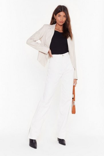 White Split Hem High Waisted Jeans