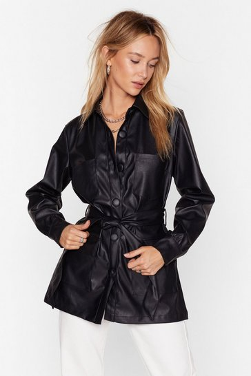 Black Faux Leather Look Back Belted Longline Jacket