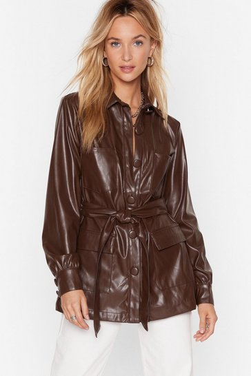 Chocolate Faux Leather Look Back Belted Longline Jacket