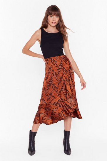 Womens Rust Don't Blend in Zebra Midi Skirt