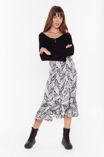 Womens White Don't Blend in Zebra Midi Skirt
