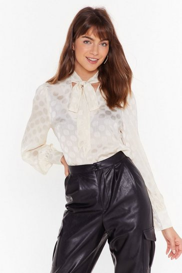 Womens Cream Polka Dot Satin Pusy Bow Tie Shirt