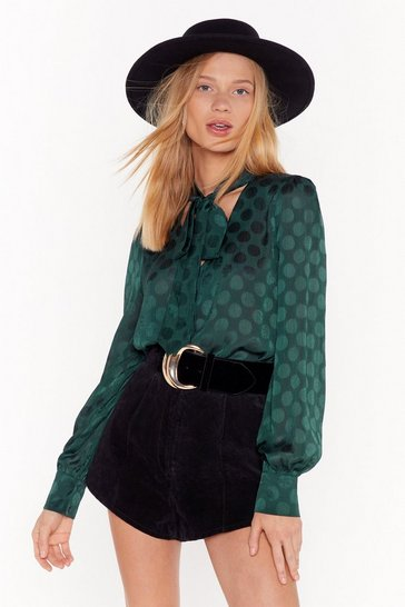 Womens Green How Bow Can You Go Polka Dot Shirt