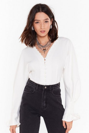 White Button It Balloon Sleeve Shirt