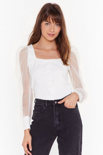 Womens White Button Front Square Neck Organza Sleeve Top