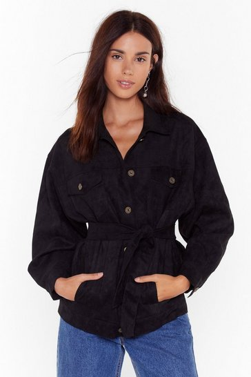 Womens Black Suede for You Button-Down Faux Suede Jacket
