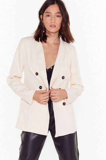 Womens Cream Only the Double Breast Will Do Blazer