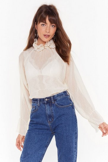 Womens Cream High Neck Crinkle Blouse