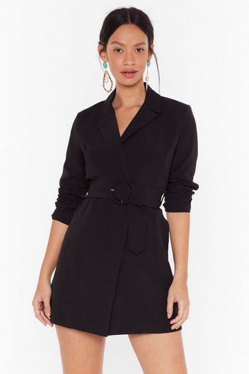 Womens Black O-Ring It On Longline Blazer